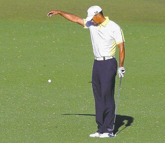Tiger Woods was assessed a two-shot penalty for taking a wrong drop during the Masters.
