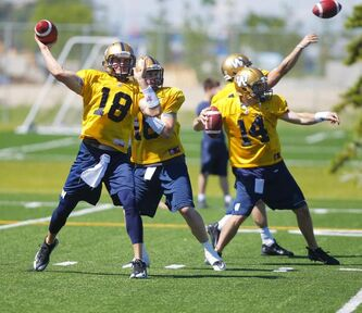 The Winnipeg Blue Bombers quarterbacks create a ballet of throws during practice Monday morning. Justin Goltz (18) will start at quarterback for the Bombers and likely play the entire first half, with Max Hall (16) and Chase Clement (14) splitting the final two quarters.