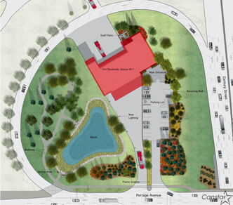 Artist's rendering of the site plan for the new Station 11 fire hall.