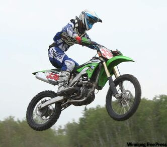 Brett Foster on his Kawasaki at the Outback Raceway near Beausejour.