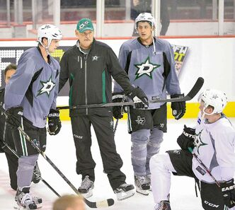 From left, the Dallas Stars� Jamie Benn, head coach Lindy Ruff, and Shawn Horcoff during the team�s practice session at the Fort Worth Convention Center in Fort Worth, Texas, on Thursday, September 12, 2013. (Max Faulkner / MCT)