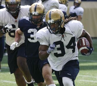Winnipeg Blue Bomber #34 running back Paris Cotten at the team practice at Investors Group Field Thursday.