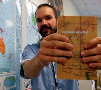 Matt Henderson, Canadian history teacher at St. John's-Ravenscourt, has been put on a 26-candidate-long short list to win the 2013 Governor General's History Awards for Excellence in Teaching. He and his students wrote Because of a Hat while learning about the settlement of Red River (now Winnipeg). It was published on Louis Riel Day earlier this year.