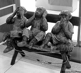 """Three Wise Monkeys"" installed outside the Offices of the Chief Administrative Officer at Winnipeg city hall. BARTLEY KIVES/WINNIPEG FREE PRESS October 20 2011."