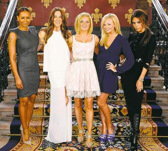 The Spice Girls: (from left to right) Melanie Brown, Melanie Chisholm, Geri Halliwell, Emma Bunton and Victoria Beckham