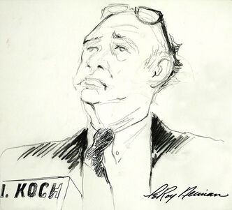 A drawing from LeRoy Neiman's personal collection of former New York Mayor Ed Koch. Koch died of congestive heart failure Friday, Feb. 1, 2013, at age 88.