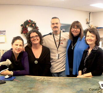 Staff at the Westwood Library (l-r): Doris Ardita, Kirsten Wurmann, Clark Rempel, Kathleen Land, and Kim Thomson.
