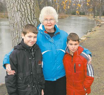 """There is just more and more of them (geese) every year and they poop all over the walkway around the duck pond, so it's just gross,"" said Kathy Lesyk, seen with her grandsons Jacob and Andrew DeBlaere in St. Vital Park."