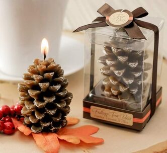Cinnamon-scented pine cone candles