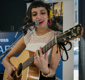 Juno nominee Alysha Brilla performs at the Winnipeg Free Press News Café on Thursday afternoon. Her album In My Head was nominated for a 2014 Juno adult contemporary album of the year. Brilla will be back in Winnipeg April 30 at Pyramid Caberet.