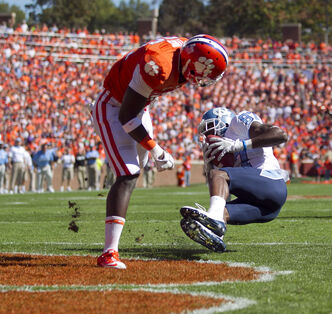 North Carolina's Jheranie Boyd (87) scores a touchdown against the Clemson Tigers at Memorial Stadium in Clemson, South Carolina in October, 2011.