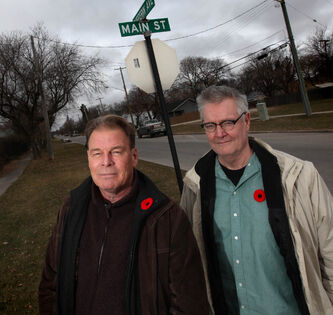 Dr. Lorne Canvin and Blaine McVety (right) are working to erect a memorial to the  Dufferin Gang on Main Street in Selkirk. They've raised $6,000 so far.