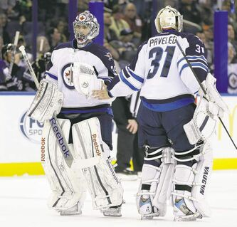 Winnipeg Jets goaltender Al Montoya replacing Pavelec Feb. 1 during the 8-3 loss in Tampa,