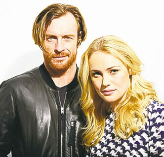 "Toby Stephens, left, and Hannah New, from the new Starz original series, ""Black Sails,"" in New York. The series premieres Saturday, Jan. 25."
