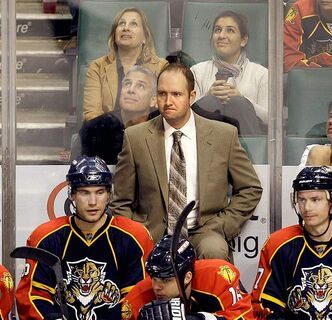 Former Panthers head coach Peter DeBoer (centre) could factor in the Winnipeg coaching derby.
