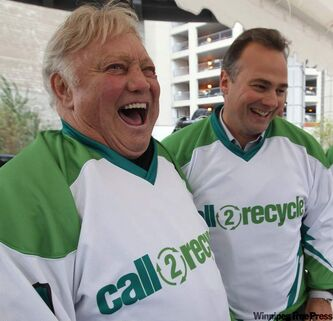 Jets legends Bobby Hull and Dale Hawerchuk were at Portage and Main on Monday to kick off a Call2Recycle event to celebrate Waste Reduction Week.