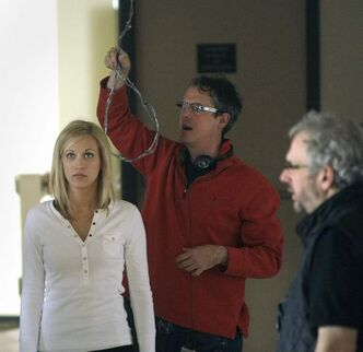 Director Declan O'Brien, right,  on the Brandon set of Wrong Turn 4 in 2011.