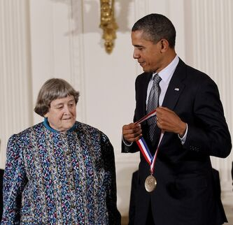 U.S. President Barack Obama presents the National Medal of Technology and Innovation to Yvonne Brill on Friday, Oct. 21, 2011, during a ceremony in the East Room of the White House in Washington. Brill, a Winnipeg-born rocket scientist who invented a propulsion system to help keep communications satellites from falling out of orbit, has died in Princeton, NJ at the age of 88.