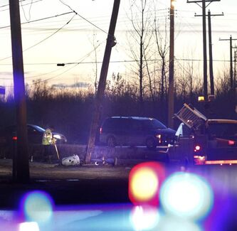A semi hit a hydro pole early today.