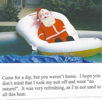 Creepy Santa has been busy since disappearing from Doug�s doorstep last January.