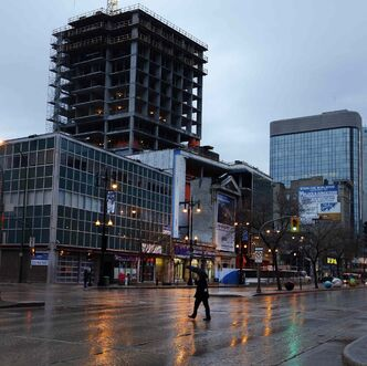 April showers make Portage Avenue at Hargarve street shine Monday morning.