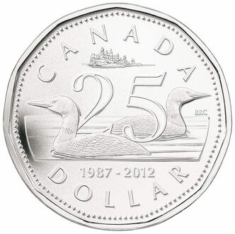 The silver anniversary collector's coin marking the loonie's 25th birthday.