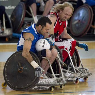 Team Canada's Garett Hickling (right) will carry the flag for Canada at the London Paralympic games.
