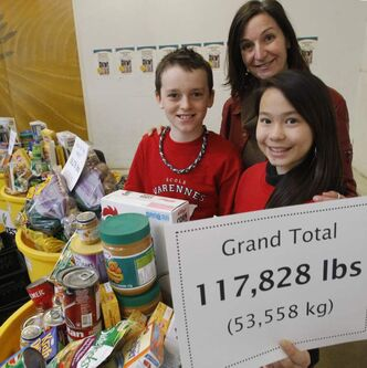 At left, Cameron Tramley and Kateesha Wai, students from École Varennes, with Chris Albi of Winnipeg Harvest, hold up the results from the total raised during the 14th Annual Operation Donation School Food Drive.