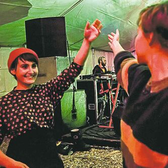 Festival goers dance to Indicator Indicator February 14, 2014