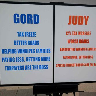 Mayoral candidate Gord Steeves held up a placard claiming rival Judy Wasylycia-Leis would bankrupt Winnipeg families at a Wednesday campaign event outside a private residence in River Park South.