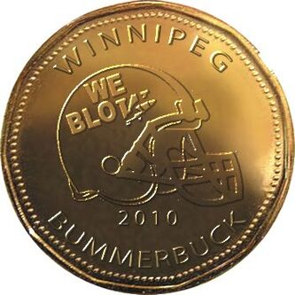 The Royal Canadian Mint unveiled a Roughrider 'loonie' this week. Rider fans have come up with this version of a Bomber loonie.