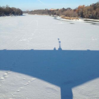 The Assiniboine Park footbridge casts a giant shadow on the slow long melting river ice on a spring-like Sunday morning in Winnipeg.