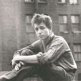 An early but undated publicity photo of  Bob Dylan in New York City from his autobiography, Chronicles Volume One.
