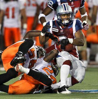Montreal Alouettes running back Brandon Whittaker (right), seen here in June 2011, 'could be the best running back in the league,' says Bombers coach Tim Burke.