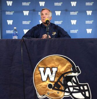 President and General Manager of Football Operations Joe Mack announces the firing of Blue Bomber head coach Paul LaPolice and the promotion of defensive coordinator Tim Burke to head coach at a press conference at the Blue Bomber office Saturday afternoon.
