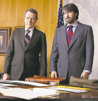 "FILE - This undated publicity film image released by Warner Bros. Pictures shows Bryan Cranston, left, as Jack O�Donnell and Ben Affleck as Tony Mendez in ""Argo,"" a rescue thriller about the 1979 Iranian hostage crisis. Best-picture prospects for Oscar Nominations on Thursday, Jan. 10, 2013, include, �Lincoln,� directed by Steven Spielberg; �Zero Dark Thirty,� directed by Kathryn Bigelow; �Les Miserables,� directed by Tom Hooper; �Argo,� directed by Ben Affleck; �Django Unchained,� directed by Quentin Tarantino; and �Life of Pi,� directed by Ang Lee. (AP Photo/Warner Bros., Claire Folger, File)"
