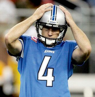 Detroit Lions kicker Jason Hanson reacts after missing a 49-yard field goal against the Pittsburgh Steelers in the third quarter of an NFL football game Sunday, Oct. 11, 2009, in Detroit. The Steelers defeated the Lions 28-20. (AP Photo/Duane Burleson)