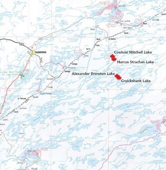 Map shows the location of four lakes named in honour of Victoria Cross recipients.