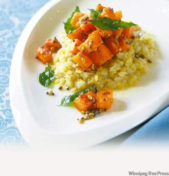Spiced sweet potatoes cooked with split red lentils
