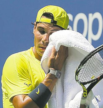 Rafa towels off during a Sunday  workout at Flushing Meadows.