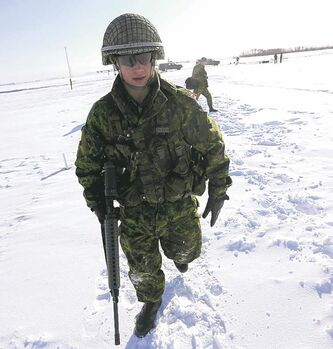 Cpl. Tommy Wong, of the Lake Superior Scottish Regiment, walks along the range. Winnipeg�s 38 Brigade�s Artillery Unit hoisted the cup Saturday.