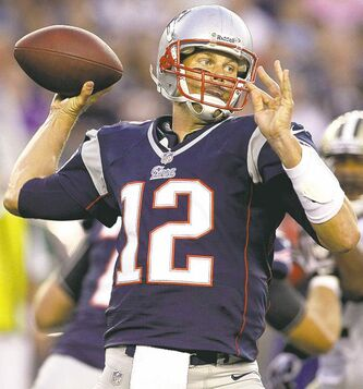 FULL CLOSE CUT CLOSECUT - New England Patriots quarterback Tom Brady (12) throws a pass during their first NFL preseason football game against the New Orleans Saints in Foxborough, Mass., Thursday, Aug. 9, 2012. (AP Photo/Michael Dwyer)