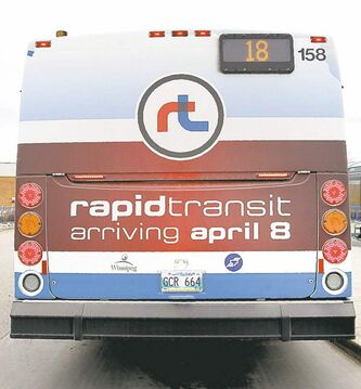 Photo of Winnipeg Transit Bus with rapid transit ad on side. See Kives story on rapid transit.. March 24 2012 (Ruth Bonneville/Winnipeg Free Press)