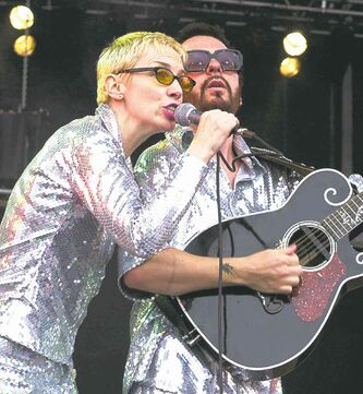 Annie Lennox (left) and Dave Stewart are performing as the Eurythmics later this month.