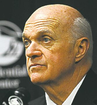 New Jersey Devils president, CEO and general manager Lou Lamoriello talks to the media after their NHL hockey game with the Tampa Bay Lightning had to be postponed due to lighting issues Friday, Jan. 8, 2010, in Newark, N.J. (AP Photo/Bill Kostroun)