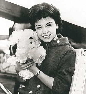 In 1959 file photo, 16-year-old Annette Funicello with her Shaggy Dog doll.