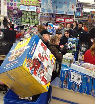 Once inside Toys R Us, shoppers such as Ruth and Antonio Girardin found some good deals.