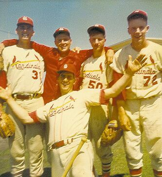 Tom Longa (front), Ray Price (rear, from left) Bob Brunz, Fred Covey and Jim Baker back in the day.