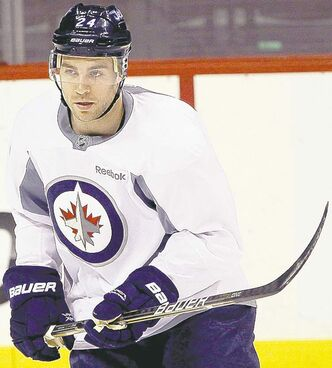 New Winnipeg Jet Grant Clitsome practises at the MTS Centre Wednesday. He hopes to help with the transition game.