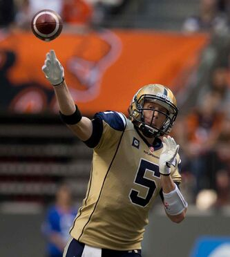 Winnipeg Blue Bombers' quarterback Drew Willy passes against the B.C. Lions during the first half of a CFL football game in Vancouver, B.C., on Friday July 25, 2014.